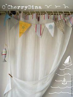 """Гардины """"Пара сытых рыбок"""" - тюль,гардина,морской стиль,окно,детская,интерьер"""