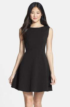 $168, Black Skater Dress: French Connection Feather Ruth Fit Flare Dress. Sold by Nordstrom. Click for more info: https://lookastic.com/women/shop_items/106383/redirect