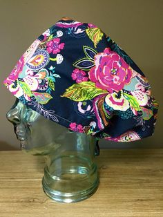 Floral  amp  Birds on Navy Surgical Scrub Hat 0c7064b4411