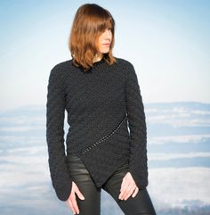 Crochet sweater PATTERN for sizes M-XL crochet TUTORIAL for every row, asymmetric sweater, unisex crochet pullover, casual crochet sweater. Crochet Chart, Crochet Stitches, Free Crochet, Crochet Patterns, Crochet Tops, Pull Crochet, Double Crochet, Crochet Style, Crochet Pullover Pattern