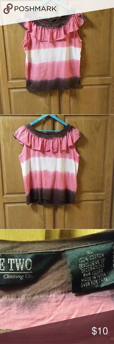Women's Take Two size XL This is a woman's Take Two Clothing Co blouse.  It is a cute sleeveless tee with a ruffle around the neck. It is tye dyed pale peach, pink, and brown.  100% cotton. It is a size XL. Tops Tees - Short Sleeve
