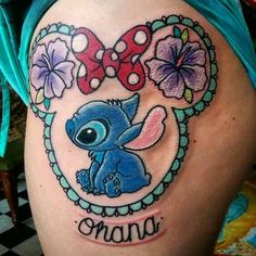 ohana Thanks for sitting so well loved doing this one! (Hard to get a photo due to wrapping slightly! Pretty Tattoos, Unique Tattoos, Beautiful Tattoos, Cool Tattoos, Awesome Tattoos, Tattoos For Daughters, Sister Tattoos, Lilo Stitch, Disney Stitch Tattoo