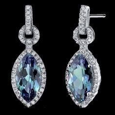 Alexandrite Marquis Cubic Zirconia Border Sterling Silver Earrings