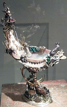 "Johann Melchior Dinglinger Dianabad (The ""Bath of Diana""), in which a chalcedony bowl in a filigree is supported between the horns of a stag's head. c,1705"