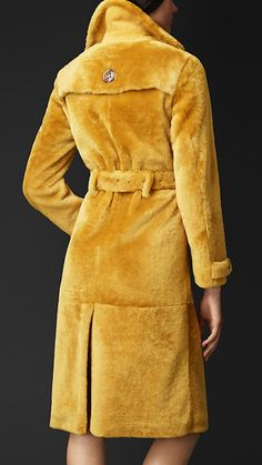 $7,250.00 SHEARLING TRENCH COAT. The velvet texture immediately caught my eye. I would love to learn how to work with such a thick and soft textile. http://ca.burberry.com/shearling-trench-coat-p45209191