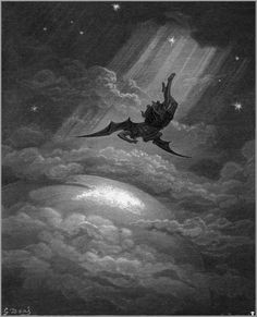 Lucifer, the falling angel: a wonderful and inspiring illustration (1886) by Gustave Dorè for Paradise Lost an epic poem by John Milton (1667)