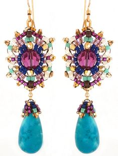 Turquoise and Gold Fill Dangle Drop Swarovski Crystal Earrings Beaded by Esther Marker