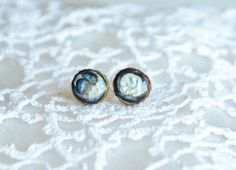 Abstract dark blue and pearly white hand painted by MyPieceOfWood, $16.00