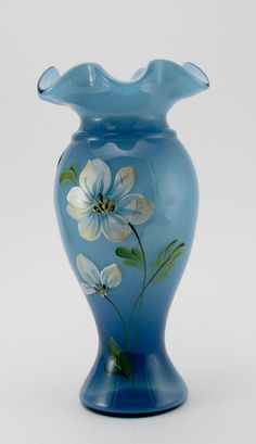 FENTON Art Glass Vase Transluent Indigo Blue w/ Hand Painted Flowers, Signed