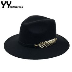 Casual Winter Fedora Hat with Metal Belt and Wide Brim 3750309ce