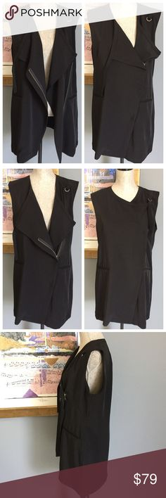 Robert Rodriguez Silky Zippered Fashion Vest Amazingly chic and edgy fashion vest from Robert Rodriguez !  Features front pockets , silver tone zipper and strap closures .  So many different looks depending on how you wear it .  Made of 94% polyester/6% elastane .  Machine wash/dry .  Perfect for work or a fun evening out !  😍 Robert Rodriguez Tops