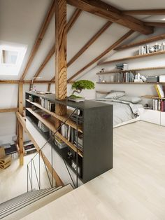 Attic loft design is one of the best space-saving solutions for tiny homes. A loft extension is a great way to add extra space, whether you crave another bedroom, bathroom or work-spaces. Turning your attic into a bedroom is a… Continue Reading → Attic Bedroom Designs, Attic Bedroom Small, Attic Loft, Loft Room, Attic Design, Loft Design, Bedroom Loft, House Design, Bedroom Ideas