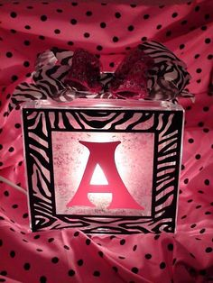 Personalized Zebra Print Lighted Glass Block. $29.50, via Etsy.