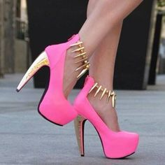 In love. Pink Gold Spike Heels.