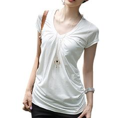 Allegra K Ladies Shirred Sides V Neck Short Sleeve Stretchy Shirt Top Allegra K. $8.30