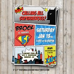 Superhero birthday invitation personalized for your party - superheroes comic digital / printable DIY superhero invitation