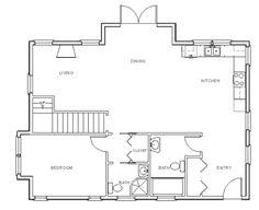 Draw Floor Plan Step 6: Plassér fast innredning (hyller, garderobeskap, blandebatterier, dusj, badekar, varmtvannstank, stekeovn og koketopp, peis/ ovn, annet).