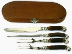 Antique Silver Knife Set  Joseph Rodgers  Free Gift with Purchase! ~   Black Friday Promo starts Now and runs through through Cyber Monday!