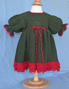 Crocheted Baby Christmas Dress and Headband by CherryHillCrochet, $50.00