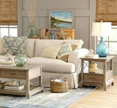 Fresh Ideas Coastal Living Room Design Sandy Beige And Blue Living Room Blue Beach Living Room Birch Lanehtml Natural Accents And Blue And Green - Homes Design Coastal Bedrooms, Coastal Living Rooms, Beach Bedrooms, Coastal Bedding, Master Bedrooms, Master Bath, Living Spaces, Home Design, Interior Design