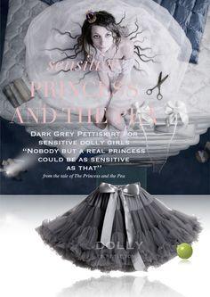 DOLLY by Le Petit Tom ® PRINCESS & THE PEA pettiskirt dark grey