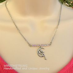 Fairy and Crystal Bar Necklace set Fantasy Jewelry by WirednStrung