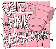 from the late tile, pink toilet, pink light fixtures.keeping it on purpose. It's so retro. my aunt has one in her house.pink and black. Pink Love, Pretty In Pink, Pink Purple, Aqua, Vintage Bathrooms, Pink Bathrooms, Pink Toilet, Bathroom Colors, Bathroom Ideas