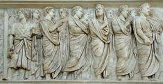 Fregio della Processione dell'Inaugurazione. Scena del fregio nord con collegio sacerdotale dei Septemviri e senatori.
