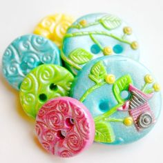 Summer Bird House handmade buttons set of 6 by TessaAnn on Etsy, $11.00