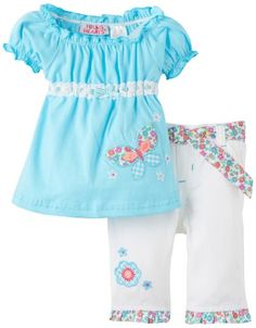Baby girl clothes#Young Hearts Baby-girls Infant 2 Piece Twill Capri Set, Blue, 12 Months