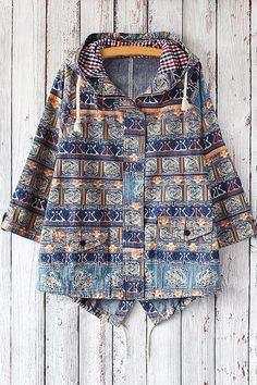 Hooded Tribal Pattern Denim Jacket