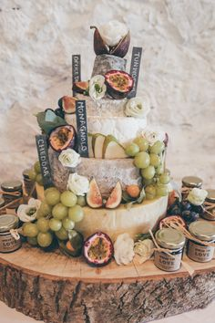 Cheese Stack Tower Cake Fruit Chutney Log Stand Natural Earthy Greenery Home Mad. - Cheese and wine - Chutney, Cheddar, Antipasto, Cheese Tower, Cheese Bar, Cheese Display, Naked Cakes, Wedding Cake Alternatives, Alternative To Wedding Cake