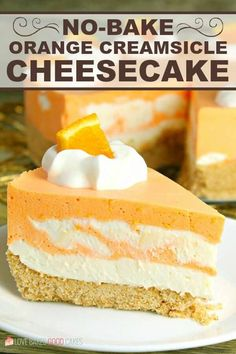 This No-Bake Orange Creamsicle Cheesecake is a nostalgic bite of bright orange and creamy vanilla, reminiscent of those long-gone summer days of your childhood. No-Bake Orange Creamsicle Cheesecake --- PIN THIS RECIPE --- As much Orange Cheesecake Recipes, Cheesecake Desserts, Mini Desserts, No Bake Desserts, Easy Desserts, Delicious Desserts, Easter Cheesecake, Nutella Cheesecake, Orange Creamsicle Cheesecake Recipe