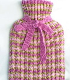 Hand Knitted Hot Water Bottle Cover in Pink and Lime Green Wool