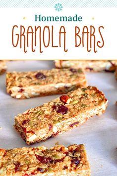 Chewy Granola Bars, Homemade Granola Bars, Healthy Bars, Healthy Snacks, Healthy Eating, Breakfast Smoothies, Breakfast Recipes, Easy Delicious Recipes, Yummy Food