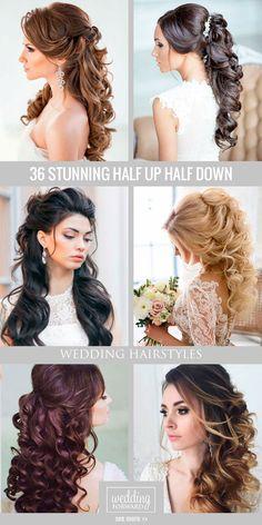 36 Stunning Half Up Half Down Wedding Hairstyles ❤ Are you looking for a half up half down wedding ideas? Braids, wavy or a celebrity-inspired wedding hairstyles are waiting for you. See more: http://www.weddingforward.com/half-up-half-down-wedding-hairstyles-ideas/ #weddings #hairstyles
