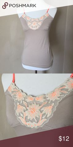 AE cami Very pretty AE cami with neon orange embroidered flowers. Never worn. Smoke free home. American Eagle Outfitters Tops Camisoles