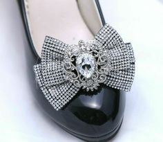 2 pcs Rhinestone Crystal Wedding Shoes Bow Black Shoe Clips #Crystal #Modern Bow Shoes, Shoe Clips, Silver Shoes, Black Shoes, Crystal Wedding, Crystals, Crystal Rhinestone, Wedding Shoes, Designer Shoes