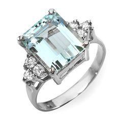 14K Aquamarine and Diamond Ring by ForeliDesign on Etsy, $499.00