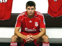 Steven Gerrard, who has spent his entire playing career at Liverpool FC. He started playing for the junior team when he was just 9 years old! Liverpool Fc, Steven Gerrard Liverpool, Liverpool Captain, Liverpool Legends, Liverpool Players, Liverpool Football Club, Stevie G, France Football, Michael Owen
