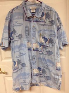 Mens Columbia Sportswear 2XL XXL Button Up Hawaiian Boat Print Shirt Blue | eBay