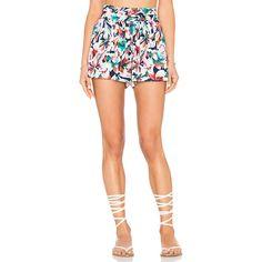 Ella Moss Tahiti Garden Short ($140) ❤ liked on Polyvore featuring shorts, elastic waist shorts, pleated shorts, rayon shorts, ella moss and short shorts