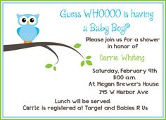 Free Printable Owl Baby Shower Invitations (Sample)