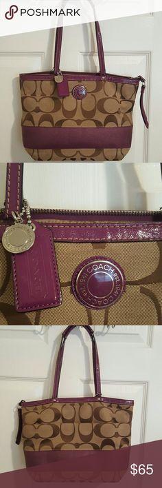 Coach Purse Excellent Condition Signature Print. Purple trim makes this purse pop!  9x13x4. Coach Bags Shoulder Bags