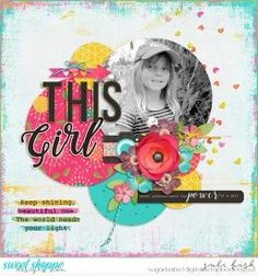 This Girl digital scrapbook layout by Juli Fish. Credits - This Girl Can by Misty Cato at www.sweetshoppedesigns.com black and white photo, one photo, circles, flower cluster hearts, arrow