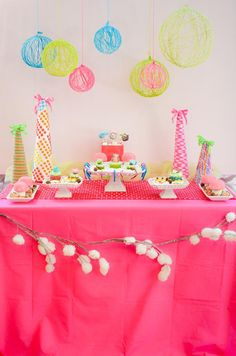 Fabulously yummy yarn party decor for any celebration - birthdays, Christmas, graduations, etc. Yarns come in every color  and style known to mankind making it easy to customize.