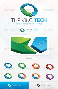 Thriving Tech #GraphicRiver An excellent logo template suitable for any business that promotes renewal or development, through technology, or high tech services, mainly sustained by progress and futuristic vision to attain their company goals. This file is easy to edit with highly organized layers, and contains: Resisable Vector logo; Vector Horizontal and Vertical display; Symbol's high resolution files, ready to use; Symbol's Color Variations as shown in the preview; Vector Greyscale…