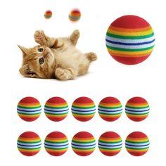 10 Unids Colorido Gato de Juguete Pelota Sonajero Juguetes Interactivos Gato Jugar Masticar Cero Natural de la Pelota de Espuma de Alimentos Para Mascotas de Formación