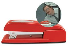 """Red Swingline stapler, Milton-style  In honor of the great tech geek Milton of """"Office Space,"""" make sure to bring your own red Swingline Stapler to work. So when the corporate hounds try to take it away, you can tell them, """"Excuse me, I believe you have my stapler."""" That's what BYOD is all about!"""