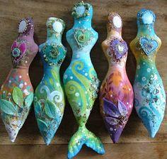 Earth Angels Art. Art and Illustrations by Amanda Clark: New herbal spirit dolls - LOVE the mermaid.